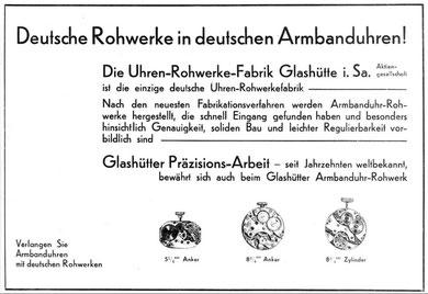 Werbeanzeige in der Deutschen Uhrmacher-Zeitung 1931