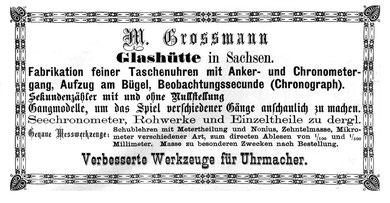 Werbeanzeige im Allgemeinen Journal der Uhrmacherkunst nr.1 vom 1. Januer 1876