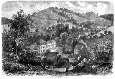 Glashütte um 1880 mit Wohn- und Fabrikgebäude der Firma A. Lange & Söhne