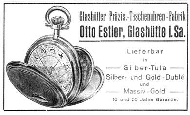 """Werbeanonnce der Firma Estler in der """"Saxonia"""" 1921"""