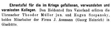 Diese Ehrentafel stammt vom 1. März 1917  [14]