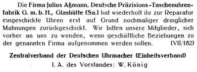 Unregelmäßigkeiten im Geschäftsbetrieb1929 [9]