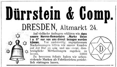 1886 Einführung der Glocke mit fünf Sternen als Schutzmarke der Firma Dürrstein & Comp. für ihre Schweizer Schablonenuhrfertigung der Marke Union
