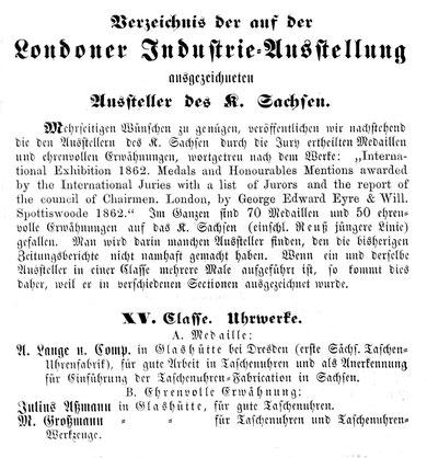 Auszug aus der Deutschen Industrie - Zeitung von 1862 Nr. 36  S.400-401