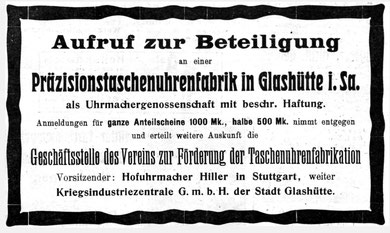 Quelle: Allgemeines Journal der Uhrmacherkunst Nr. 18 v. 15. Sept. 1918 S. 149