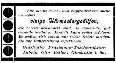 AJU Nr. 24 v. 15. Dez. 1919 Anzeige