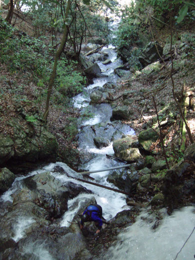 川辺川水系の滝上より