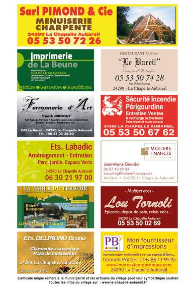Les sponsors de la foire 2011, tous issus du village.