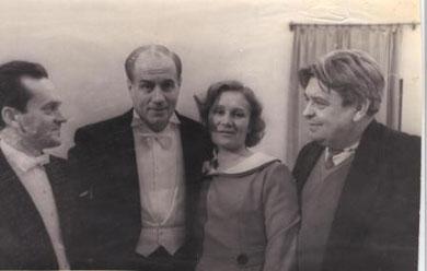 Израиль Борисович Гусман, Иван Семенович Козловский, Валентина Алексеевна и Николай Алексеевич Барсуковы. 1960-е годы.