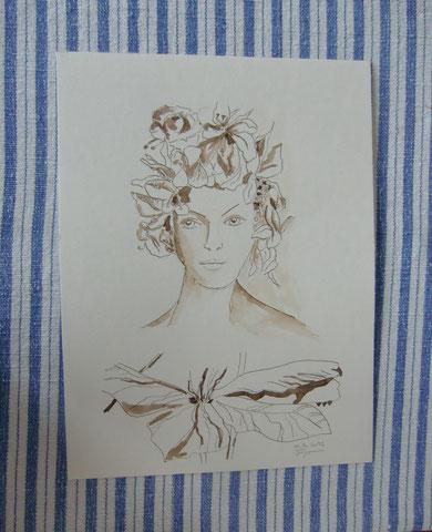 Federzeichnung Sepia Tinte v. Susanne