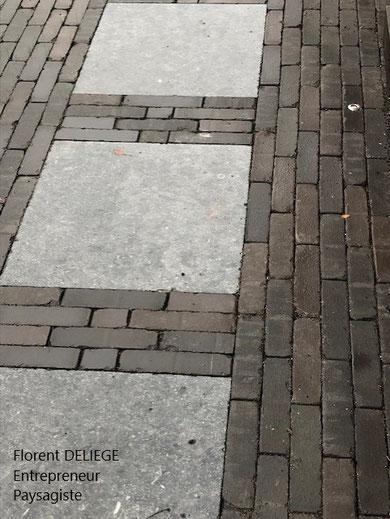 pas japonais pavés terre cuite et dalle pierre bleue belge du Hainaut patrimoine