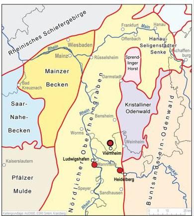 Lage der drei Bohrungen Heidelberg, Ludwigshafen und Viernheim im Heidelberger Becken.