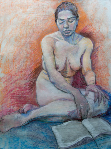 Pastel sketch of woman reading. Patel on paper.