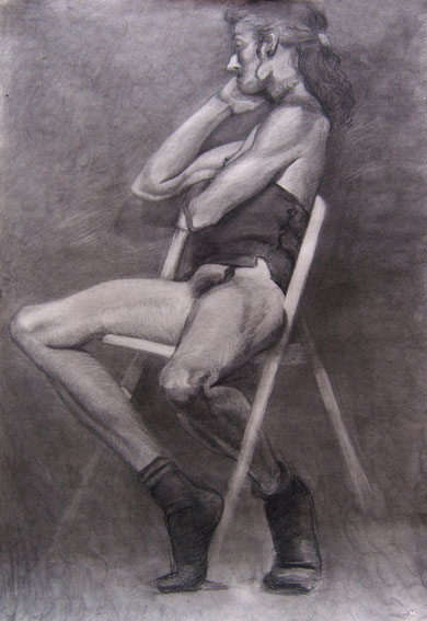 The dancer. Charcoal on paper.