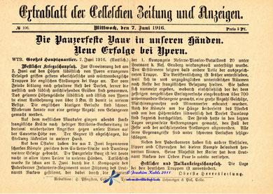 Tatsächlich gelang es den Deutschen erst am 07.Juni das Fort einzunehmen - Archiv J. Kuhls siehe Linktipps