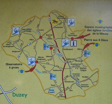 Übersichtskarte (fotografiert im Warphemont-Wald