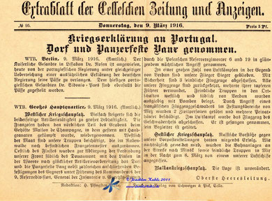 Falschmeldung vom 9.März über die Einnahme des Forts - Archiv Joachim Kuhls siehe Linktipps
