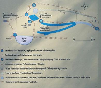 Übersichtskarte des Batterie-Geländes (fotografiert auf dem Parkplatz der Stellung)