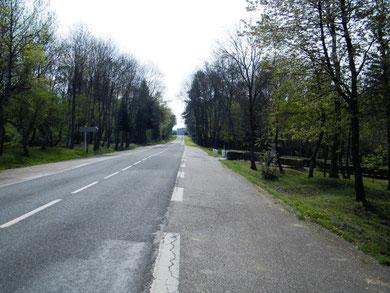 Die D913 - rechts der Weg zur Gedächtniskapelle von Fleury, am Straßenende das Memorial. Auf der linken Seite verlief der Bahndamm