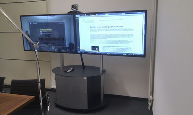 mobile Videokonferenz 55 Zoll Doppeldisplay