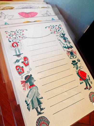 2色刷り便箋 「冬のおくりもの」