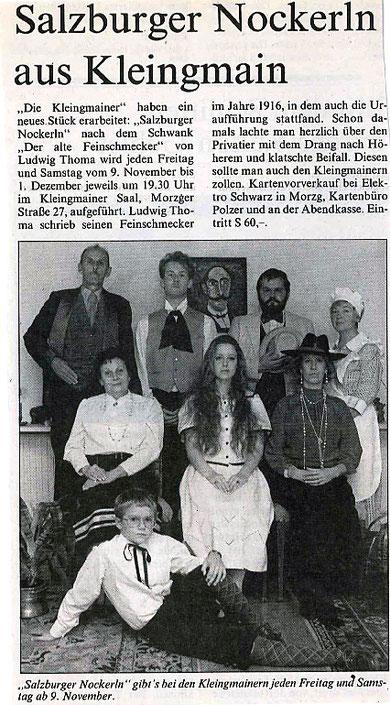 """""""Salzburger Nockerln"""" erntet großen Beifall (Salzburger Fenster, Oktober 1990)"""
