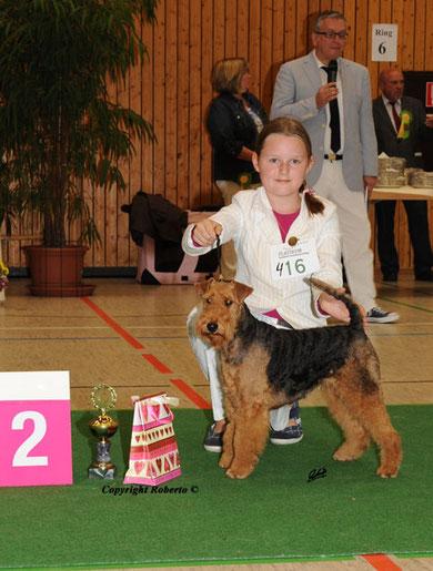 2. Platz Juniorhandling AK 1 Klubsieger Bensheim 28.8.2011  mit Franziska