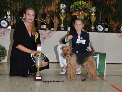 1. Platz Juniorhandlingfinale AK 1 Klubsieger Bensheim 26.8.12 mit Henry