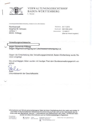 1 S 450/17 vom 22.10.2019 Bestätigung der Revisionseinlegung durch VGH BW