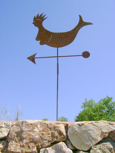 """""""WETTERFAHNE Meerjungfrau"""" (Mateial:Eisen, Breite:0,65m, Höhe:0,70m, verschiedene Längen möglich, Preis:110€)"""
