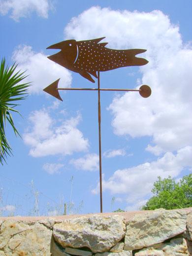 """""""FISCH-WETTERFAHNE"""" (Material: Eisen, Breite:0,60m, Höhe:0,47m, verschiedene Längen möglich, Preis:110€)"""