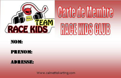 carte de membre team race kids