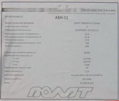 ТТХ на МЗКТ-700650-013 с бетононасосом АБН-52.