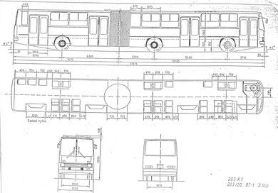 Схема и планировка сочлененного городского автобуса Ikarus 283