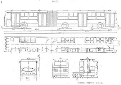 Схема и планировка сочлененного городского автобуса Ikarus 435.01