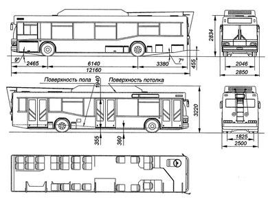 Габаритная схема и планировка салона троллейбуса МАЗ-103Т