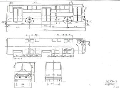 Схема и планировка салона автобуса Ikarus 263