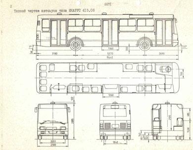 Схема и планировка городского автобуса Ikarus 415.08
