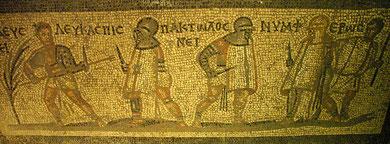 """Mosaico con """"Provocatores"""" di età imperiale (II-III sec. d.C.) - Istanbul, Museo Archeologico"""