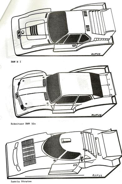 """Carrosseries """" Silhouettes """" du championnat 1/24 de 1982"""