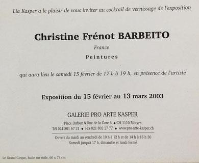 Ma deuxième exposition personnelle d'art naïf. Organisée par Lia KASPER dans sa galerie à Morges en Suisse en 2003