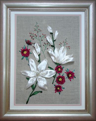 """Панно """" Белые лилии и хризантемы"""""""
