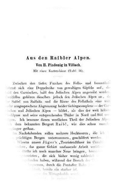Die klassische Arbeit von Hermann Findenig (Findenegg) in der Zeitschrift des deutschen und Österreichischen Alpenvereines 1879