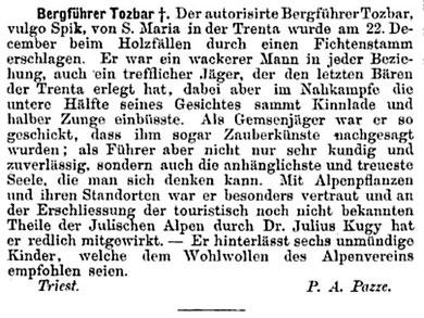Nachruf auf Anton Tožbar 1891