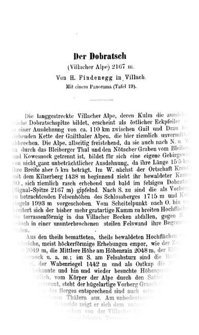 Aufsatz über den Dobratsch von Hermann Findenegg in der Zeitschrift des deutschen und Österreichischen Alpenvereines 1882