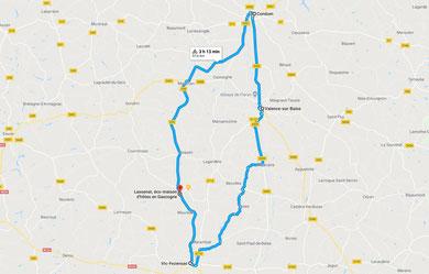 Circuit vélo Vic-Fezensac, Valence sur-Baïse, Condom au départ de Lassenat éco- maison d'Hôtes en Gascogne, chambres d'Hôtes de charme, avec table d'hôtes, piscine écologique, écotourisme au coeur du Gers, en Occitanie.