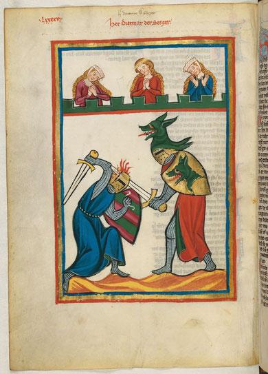 Codex Manesse, Universitätsbibliothek Heidelberg, ritterlicher Zweikampf