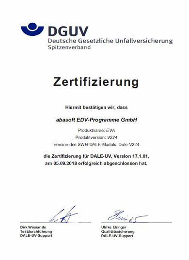 EVA Praxissoftware abasoft Arztsoftware Telematikinfrastruktur Dale-Uv Zertifzierung Praxis Arzt