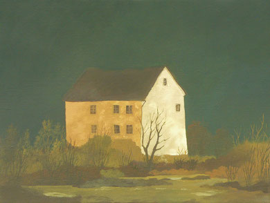 """Martin Guido Becker, """"Einsames Haus"""", 2016, Öl/Lwd, 30/40 cm"""