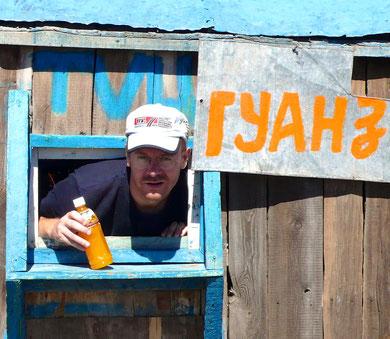 Pause rafraichissement sur la piste d'Uliastai